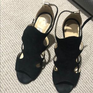Jimmy Choo black and gold suede heels size 7